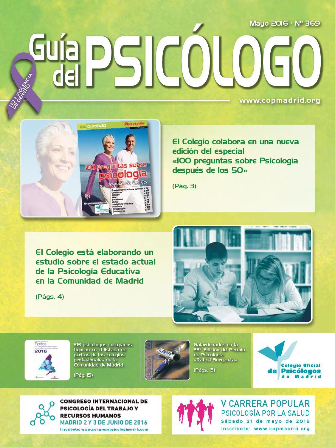 Guía del Psicólogo mes de Mayo 2016 by Colegio Oficial de Psicólogos ...