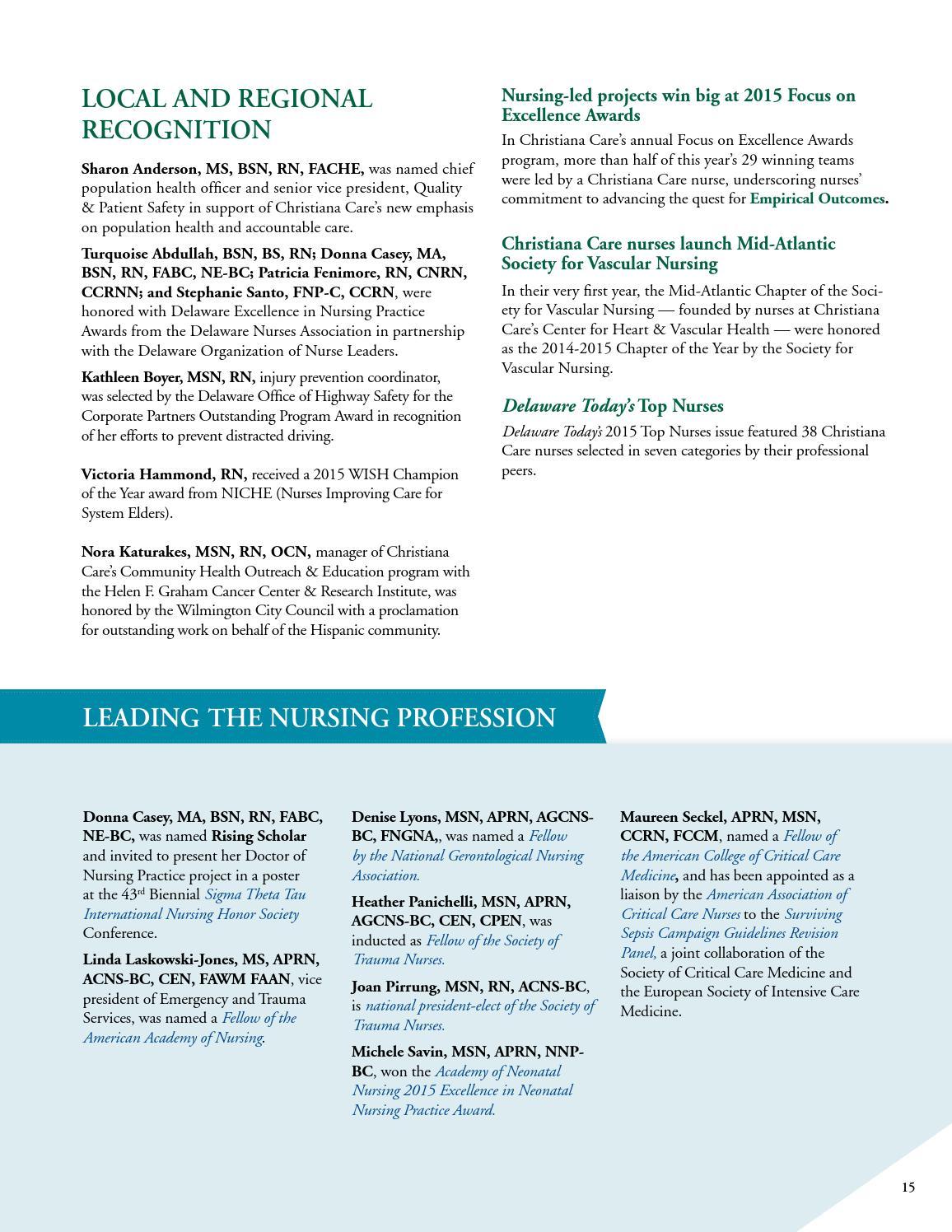 Christiana Care 2015 nursing annual report by Christiana