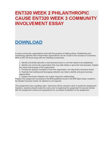 Ent320 week 3 community involvement essay by WoltSanders - issuu