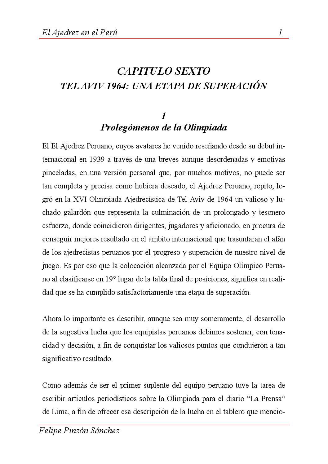 EL AJEDREZ EN EL PERÚ by Felipe Pinzón Sánchez by Pablo Parco ...