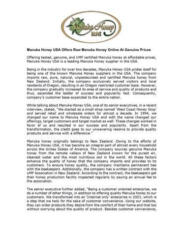 Manuka Honey USA Offers Raw Manuka Honey Online At Genuine Prices by