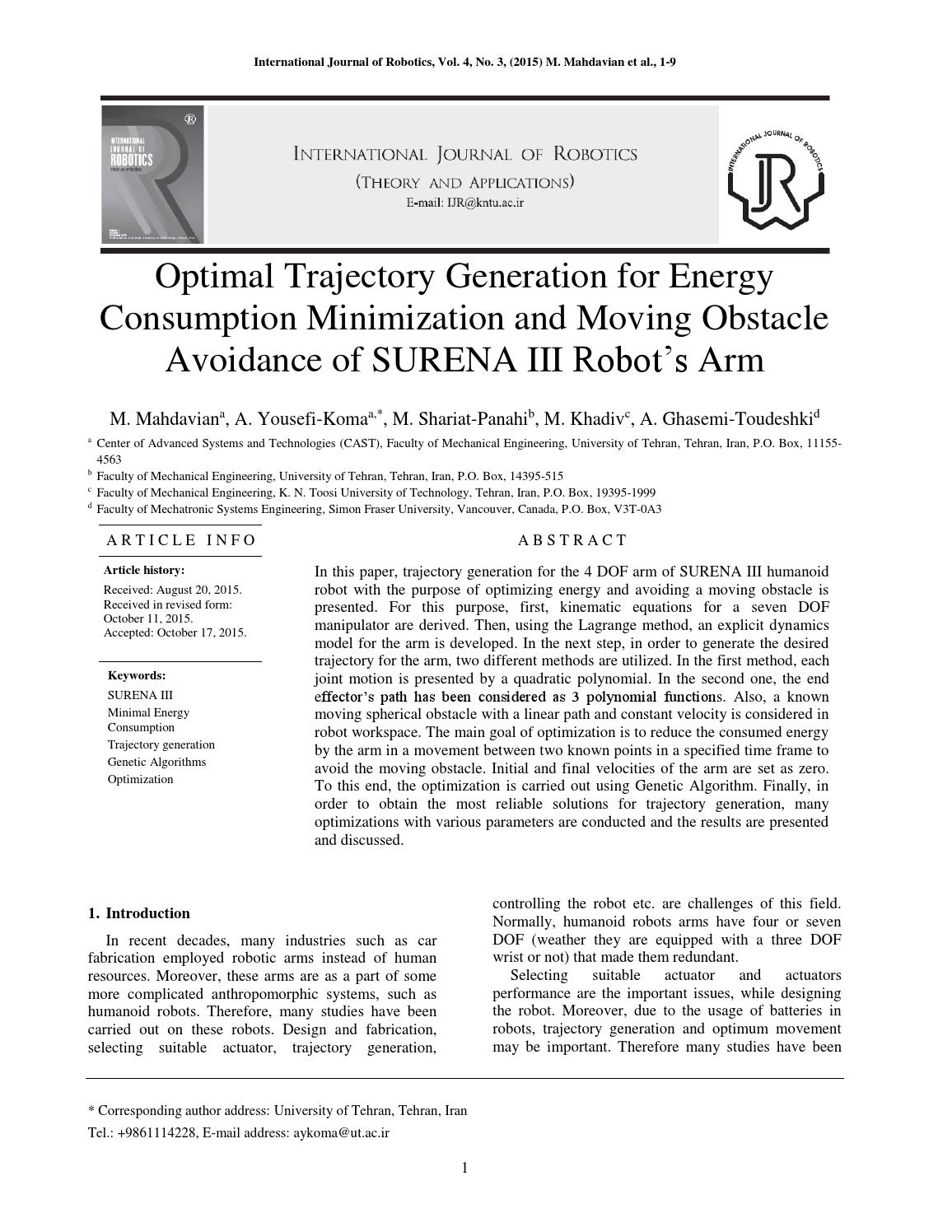Optimal Trajectory Generation for Energy Consumption Minimization and  Moving Obstacle Avoidance of S