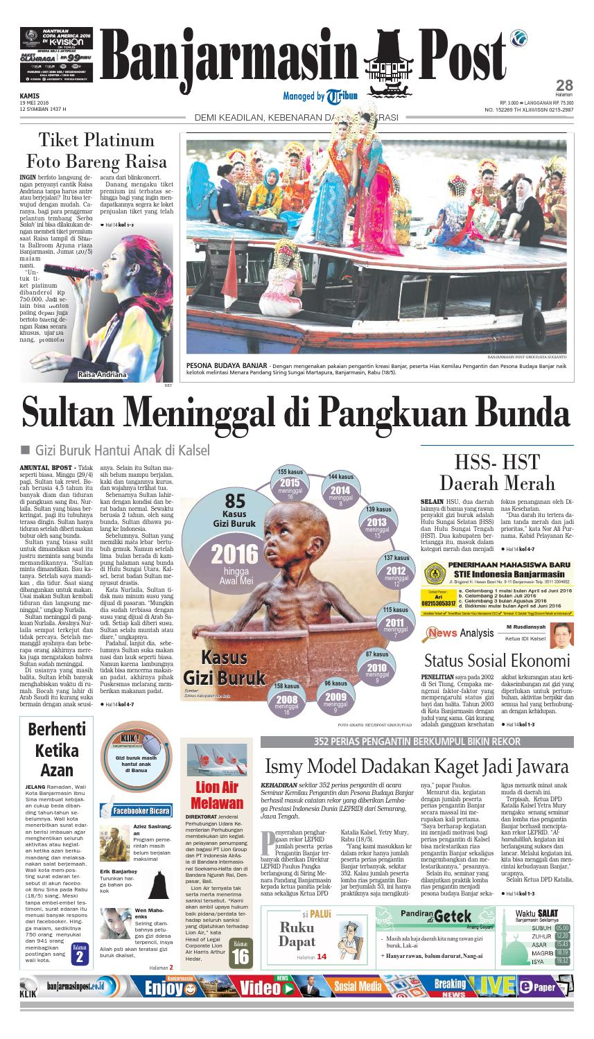 Banjarmasin Post Kamis 19 Mei 2016 By Issuu Produk Ukm Bumn Sastra Organdi Biru