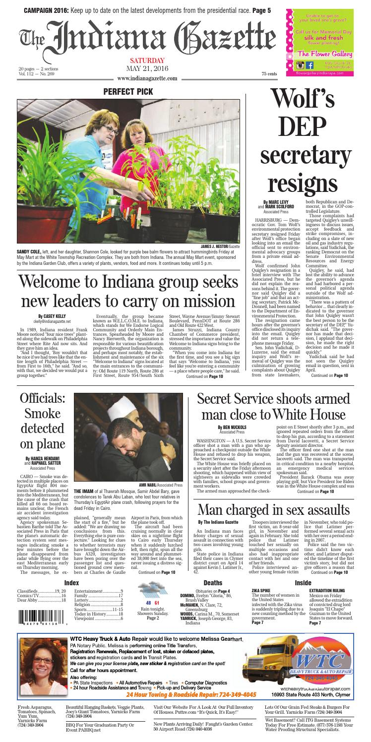 The Indiana Gazette, May 21, 2016 by Indiana Printing & Publishing ...