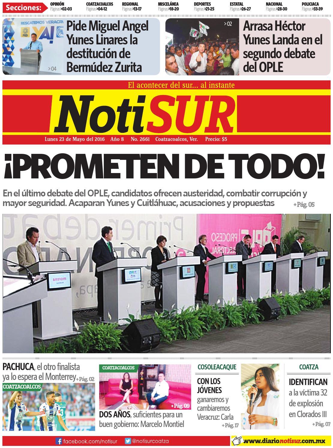 e31f11d139f6c NotiSUR 23 de mayo 2016 by Diario NotiSUR Coatzacoalcos 2015