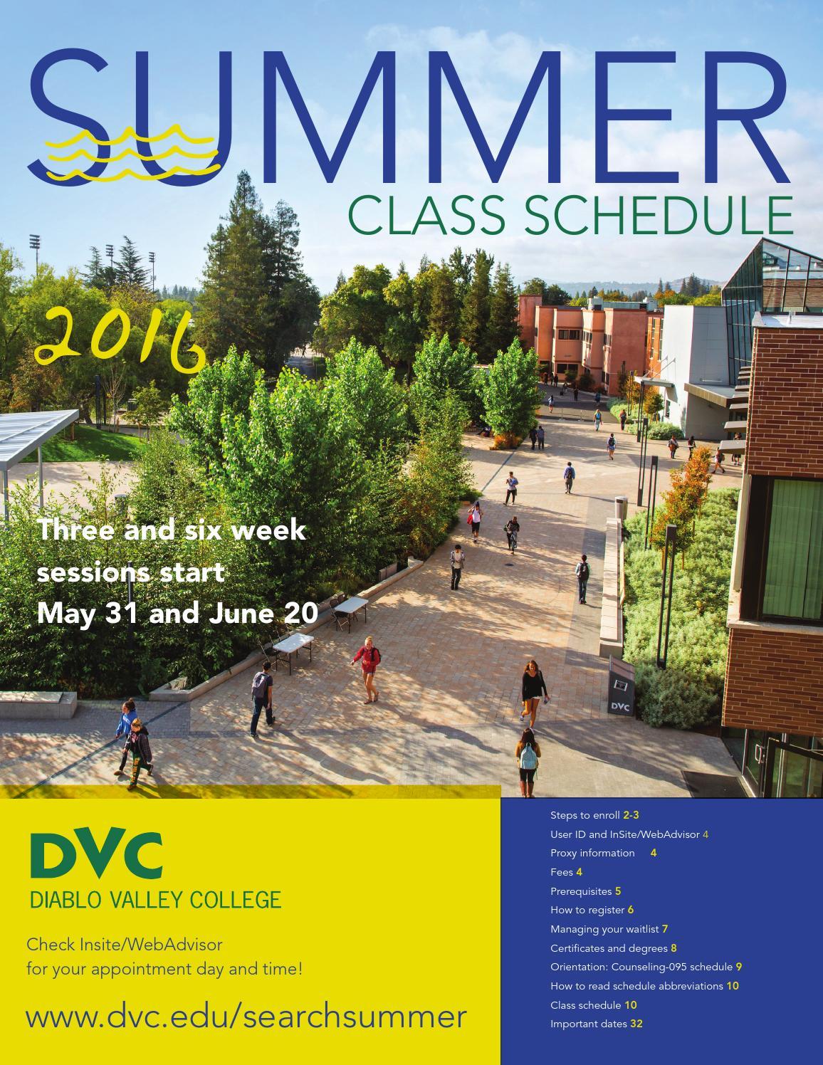 dvc summer 2016 class schedule by diablo valley college issuu