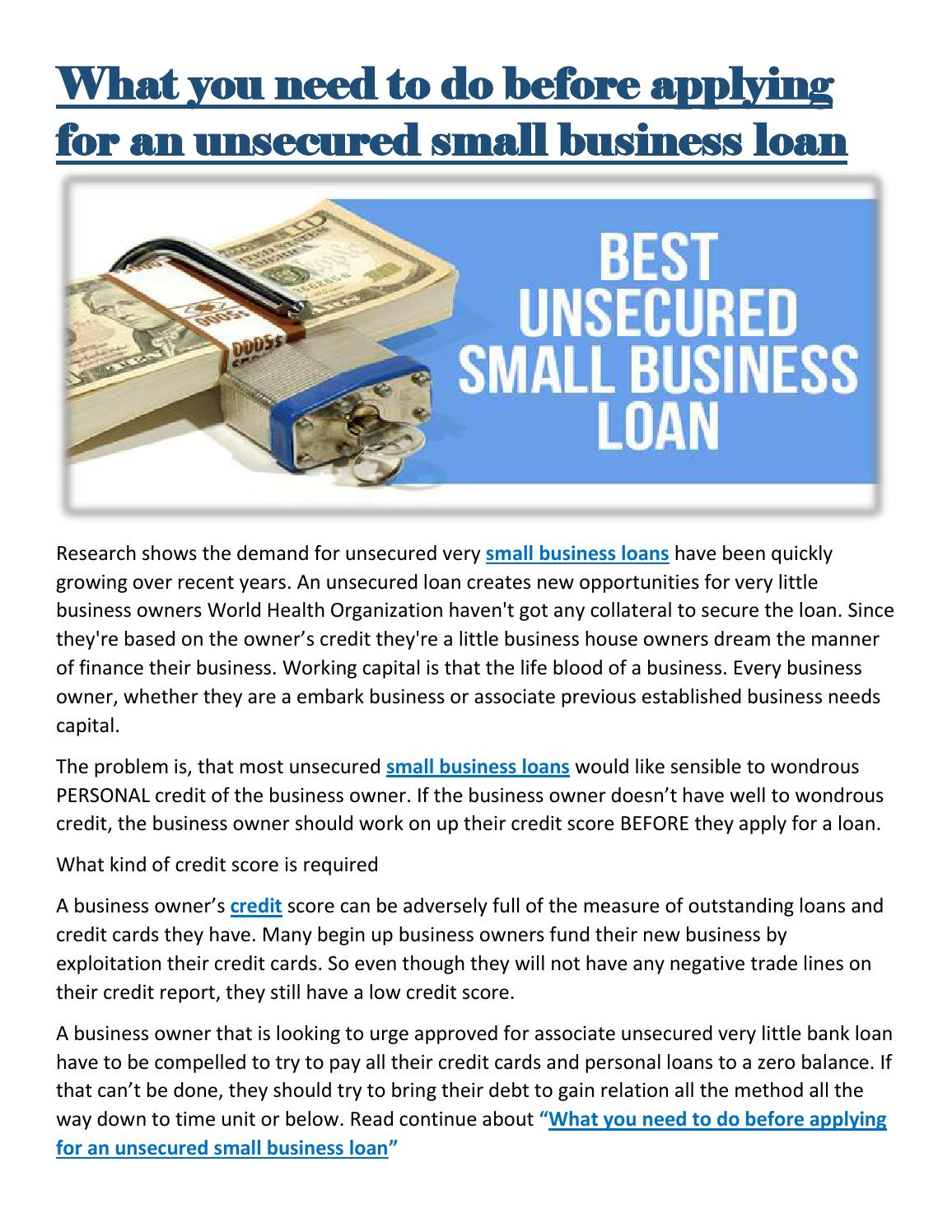 What you need to do before applying for an unsecured small business ...