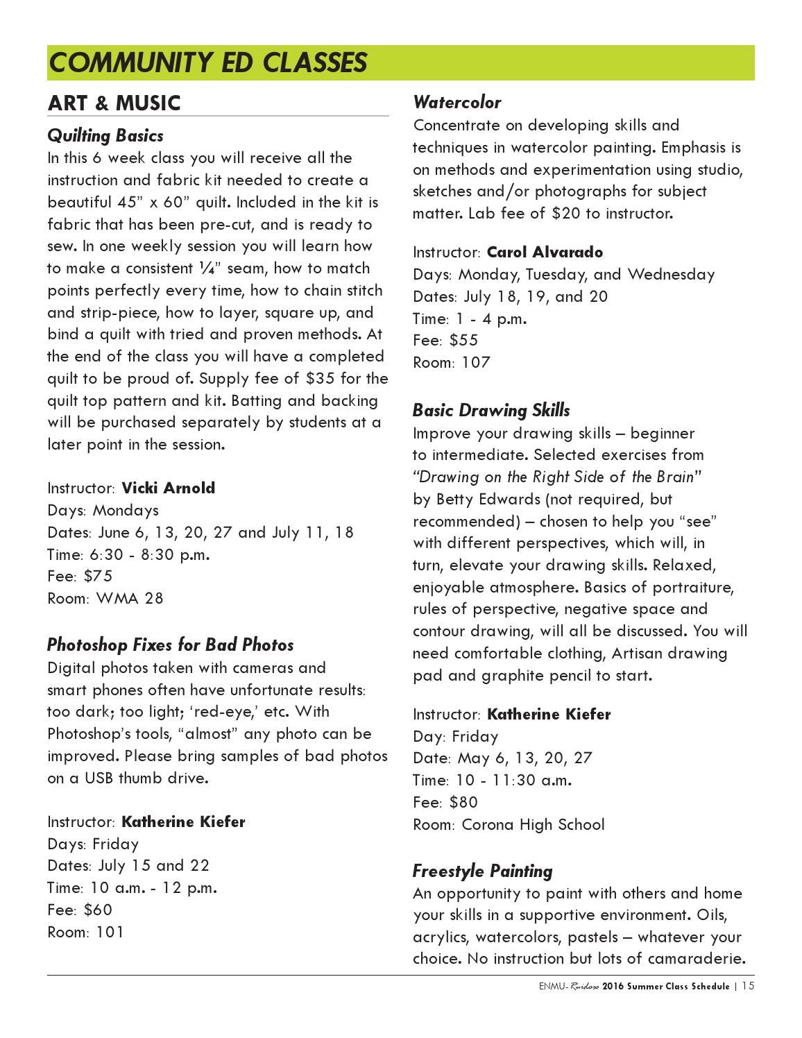 ENMU 2016 Summer Class Schedule by ENMU-Ruidoso - issuu