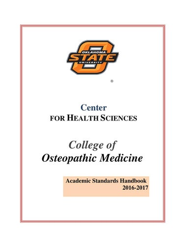 OSU College of Osteopathic Medicine Academic Standards Handbook by