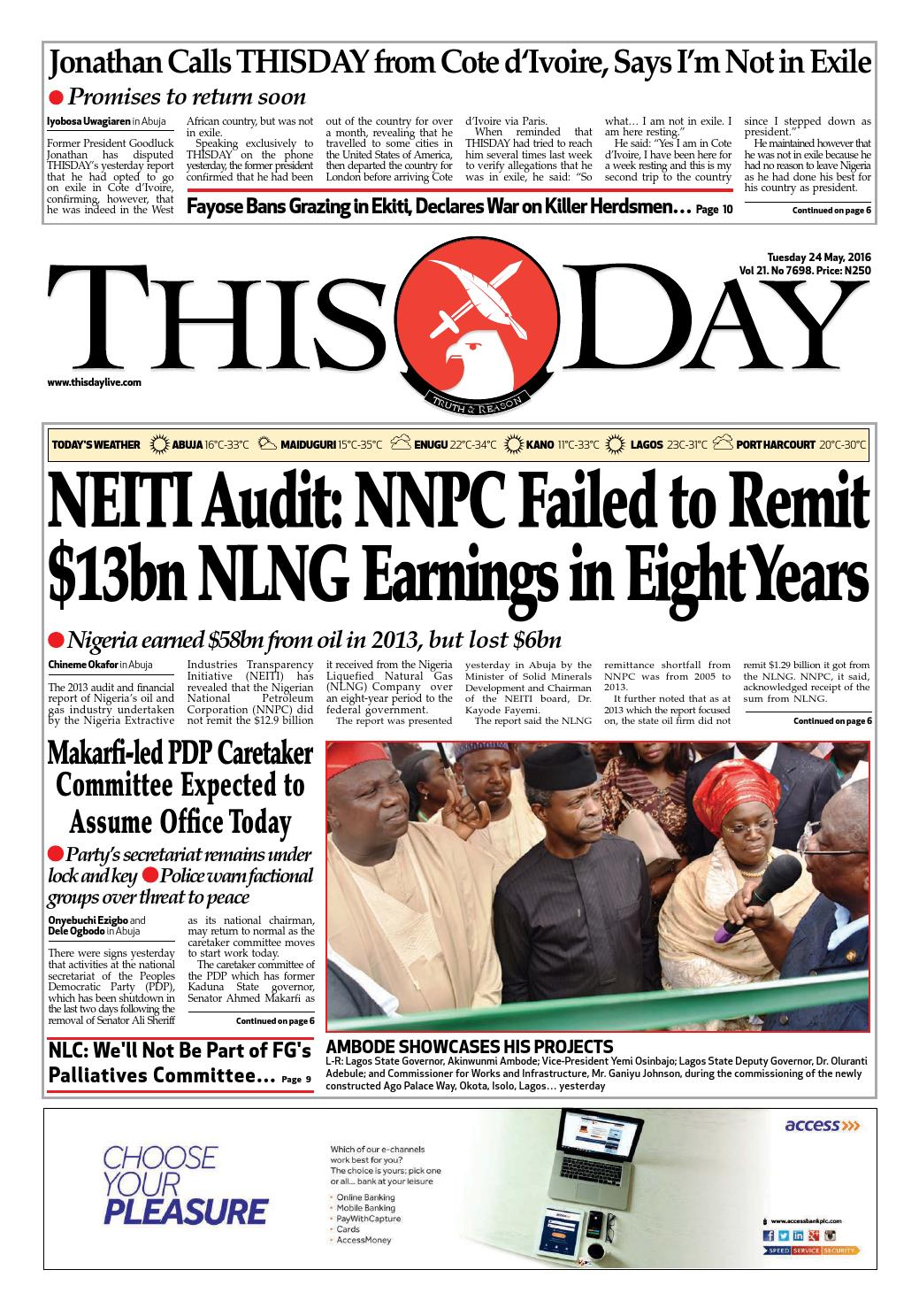Tuesday 24th May 2016 By Thisday Newspapers Ltd Issuu