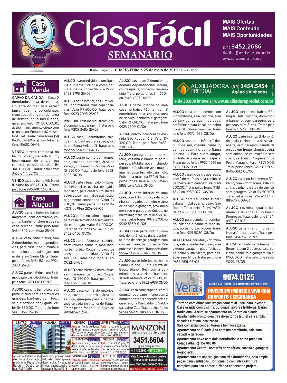 75de67e041 25 05 2016 - Classificados - Edição 3.235 by Jornal Semanário - Bento  Gonçalves - RS - issuu