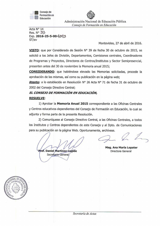 A14 r033 memorias anuales 2015 by Instituto de Formación Docente ...