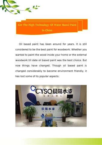 Get The High Technology Of Water Based Paint In China