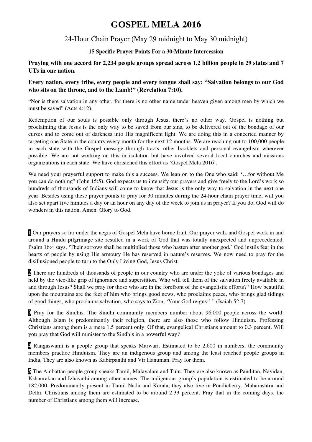 Gospel Mela 2016: Prayer Points in English by Christian
