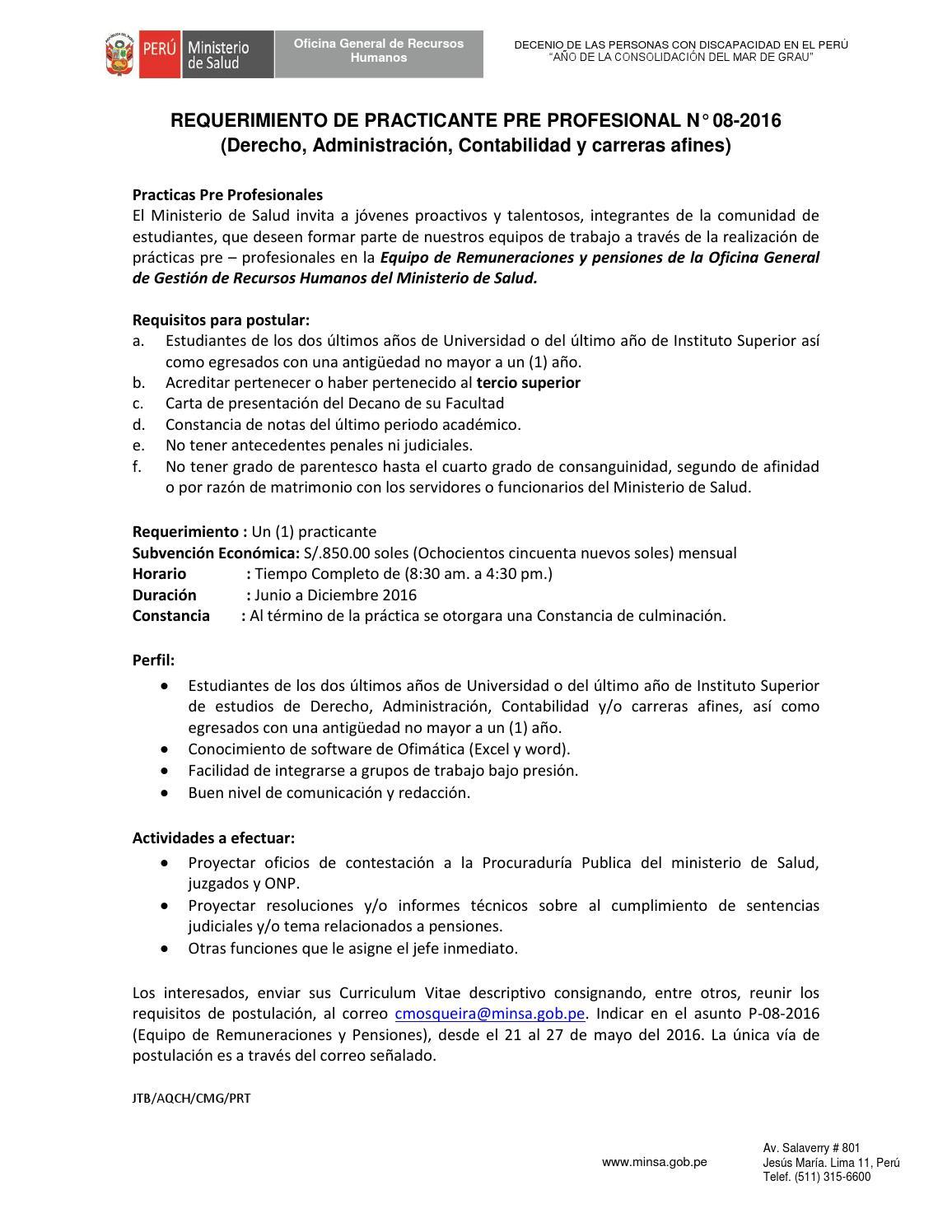 Convocatoria prácticas N.° 08 2016 by Untels Publicaciones - issuu
