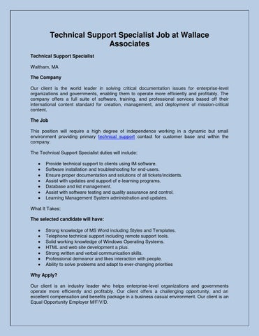 Technical Support Specialist Job at Wallace Associates by Will Fink ...