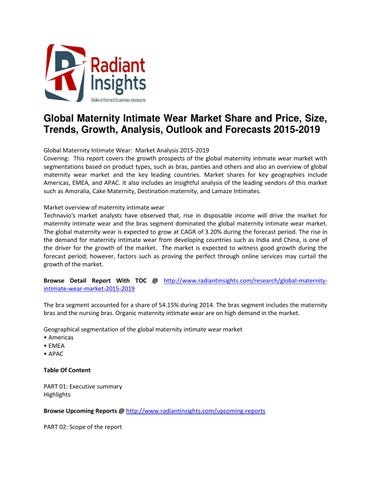 66ff6e353 Global Maternity Intimate Wear Market to Reach Close at a CAGR of 3.20%  during the period 2014-2019