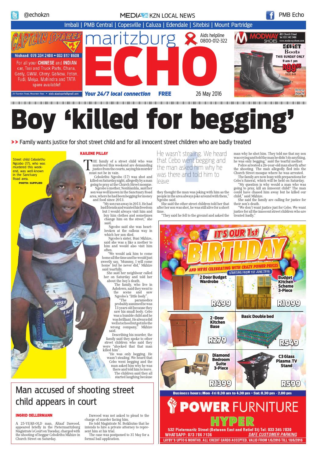 pietermaritzburg newspaper classifieds Published on thursdays in the echo, a community newspaper originally published by the witness, pietermaritzburg's local daily newspaper read by an estimated 250 000 people each week designed for low-literate adults with incomplete primary education.