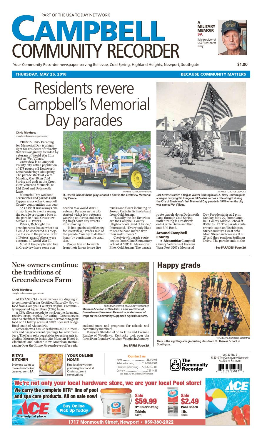 bcc7b91425 Campbell community recorder 052616 by Enquirer Media - issuu