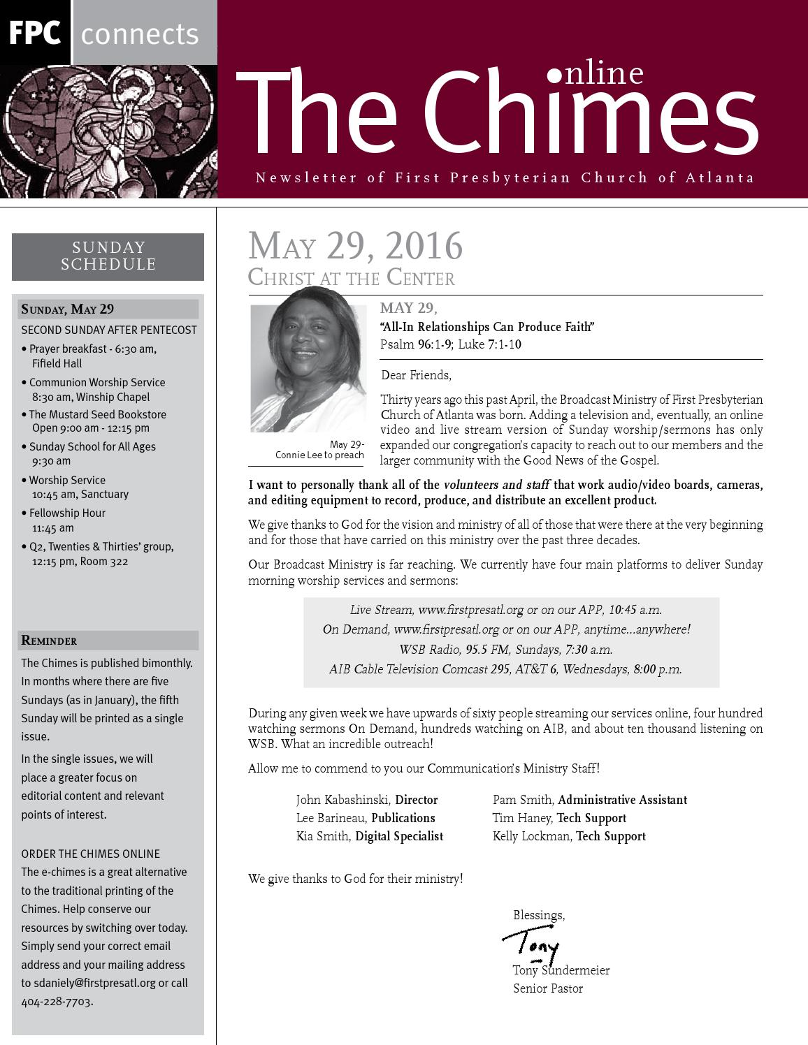 Echimes May 29 2016 By First Presbyterian Church Of Atlanta Issuu