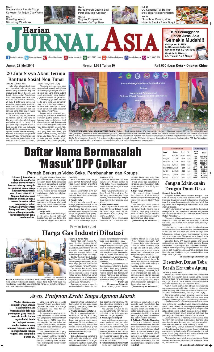 Harian Jurnal Asia Edisi Jumat, 27 Mei 2016 by Harian Jurnal Asia - Medan - issuu