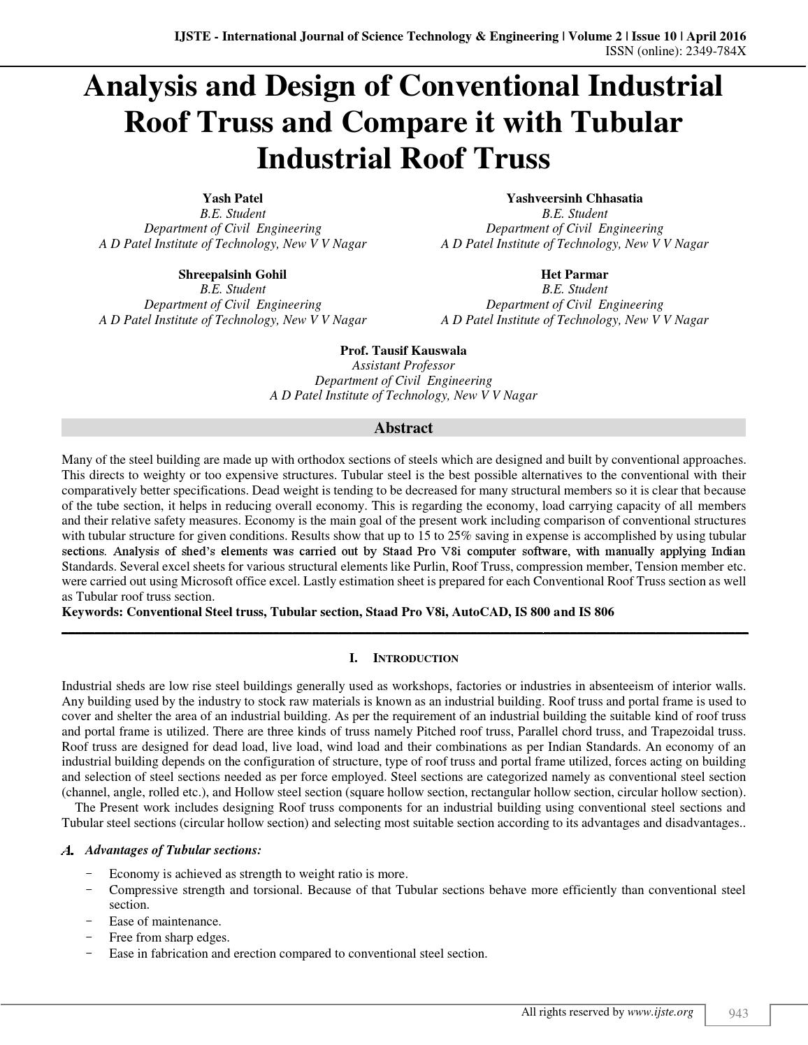 Analysis and Design of Conventional Industrial Roof Truss