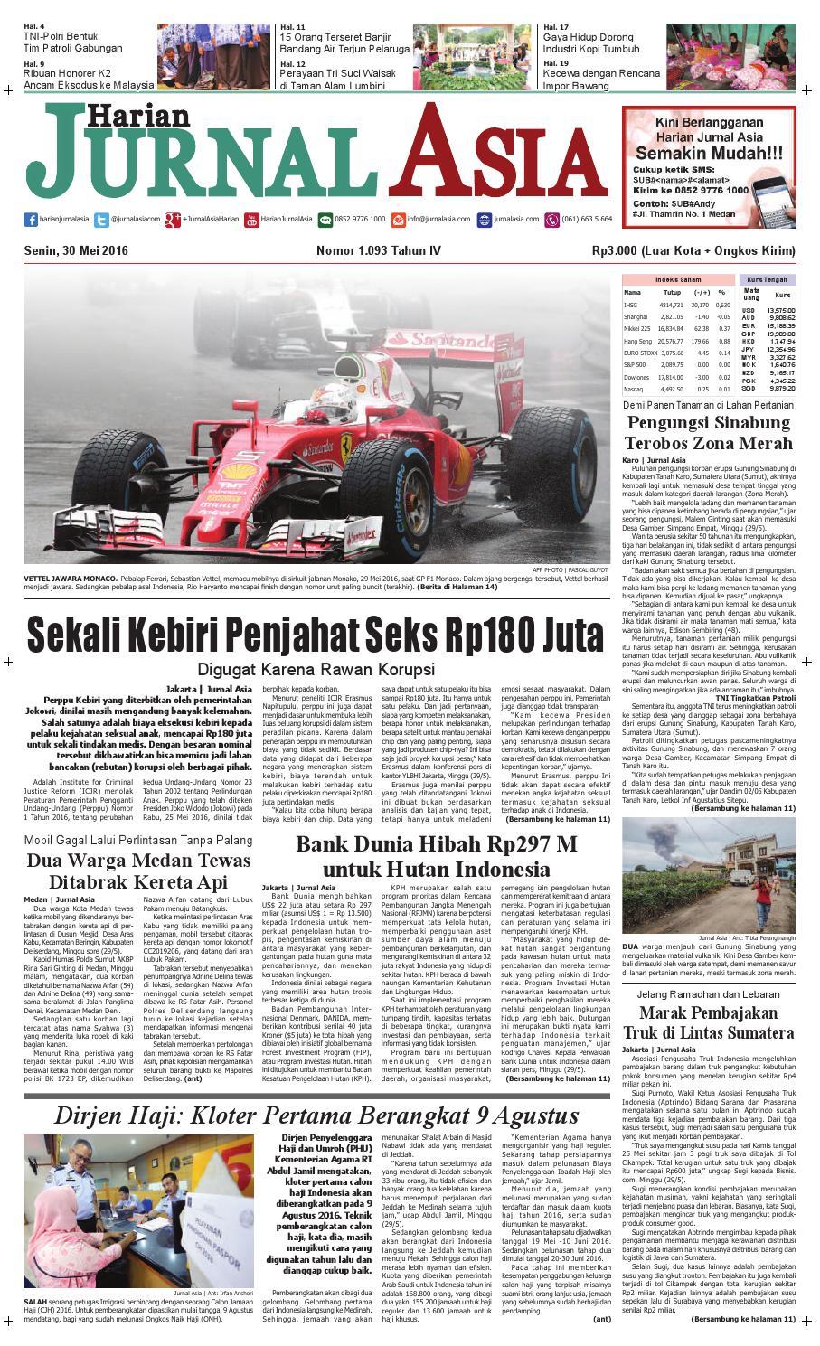Harian Jurnal Asia Edisi Senin 30 Mei 2016 By Produk Ukm Bumn Tas Phiton Kembang Orchid Medan Issuu