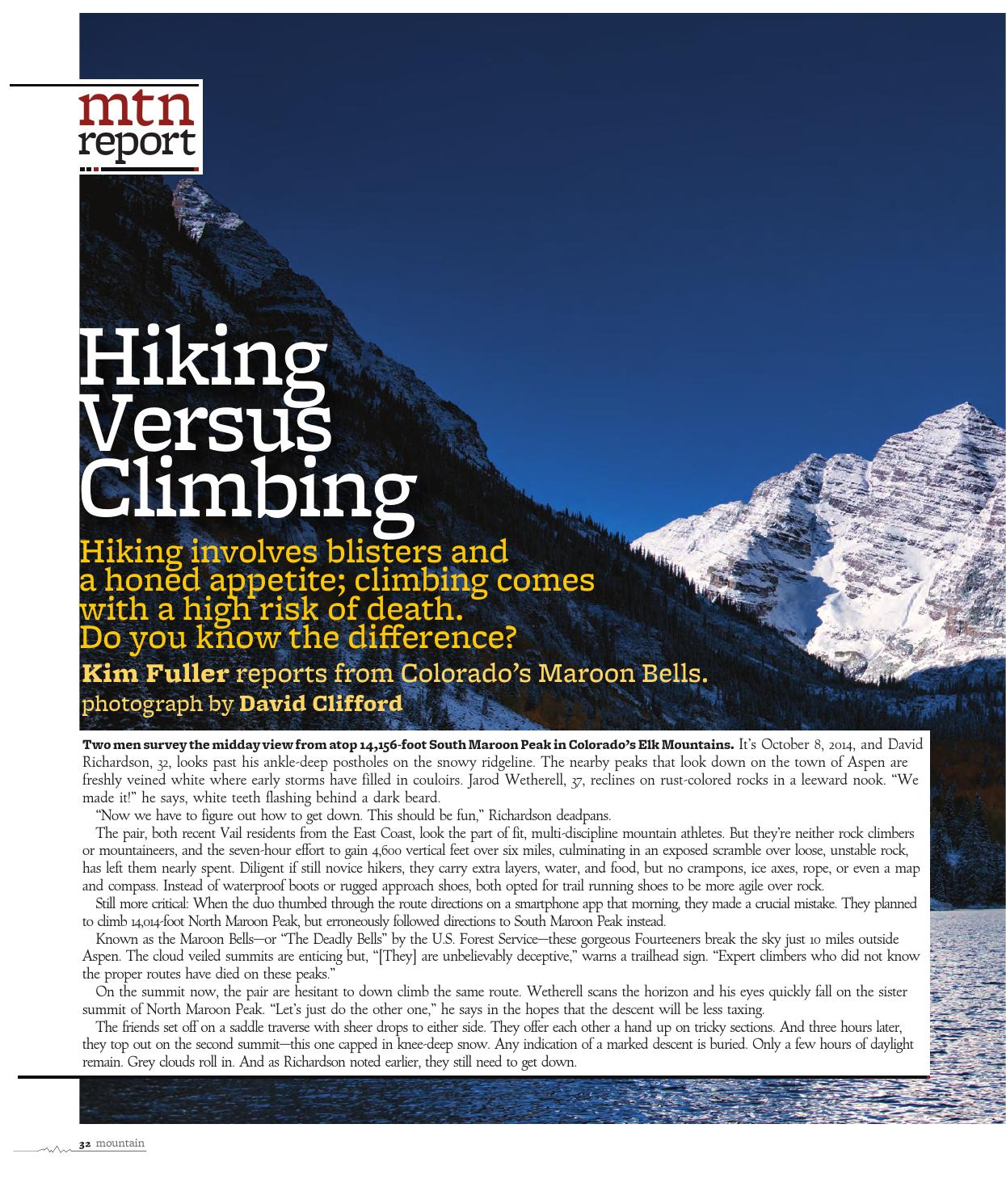 Mountain Magazine Hiking Versus Climbing By Kim Fuller Issuu