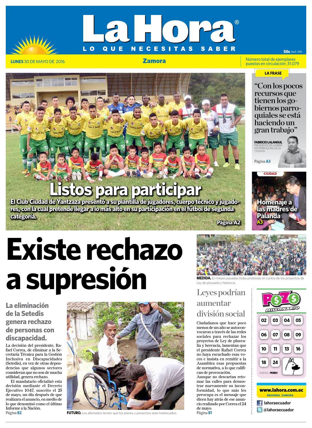 Diario La Hora Zamora 30 de Mayo 2016 by Diario La Hora Ecuador - issuu
