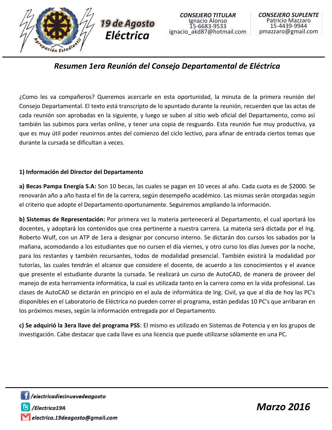 Resumen 1era reunión by Electrica Diecinueve de Agosto - issuu