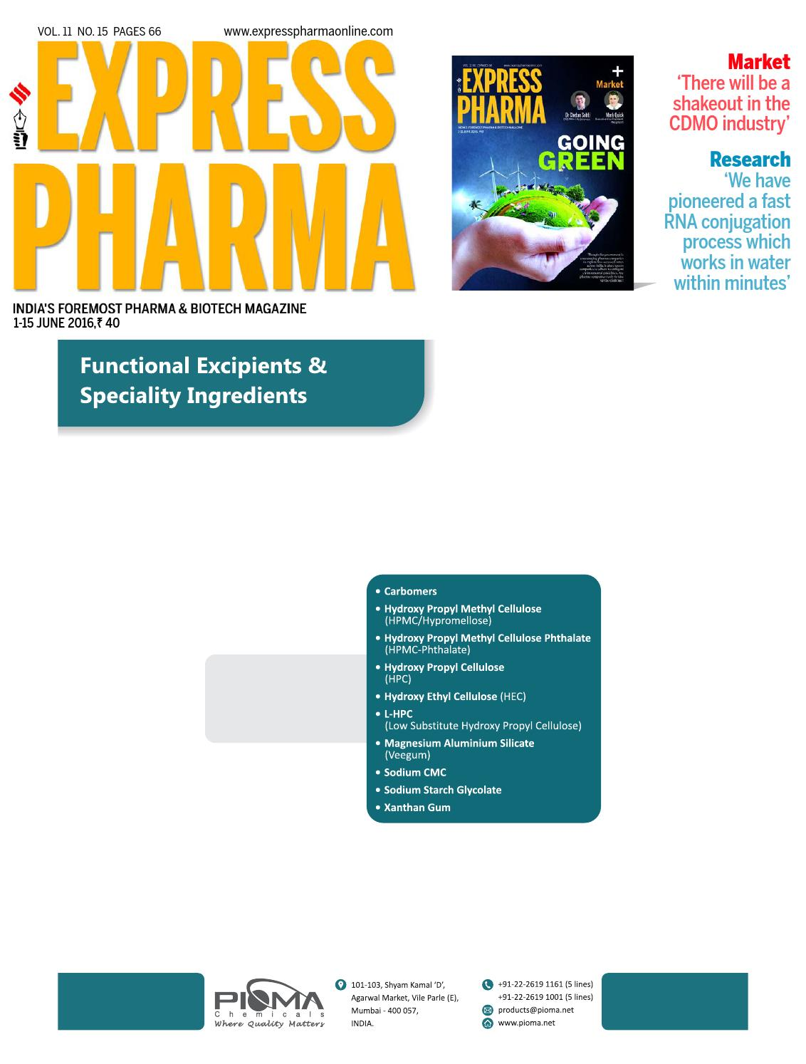 Express Pharma (Vol 11, No 15) June 1-15, 2016 by Indian
