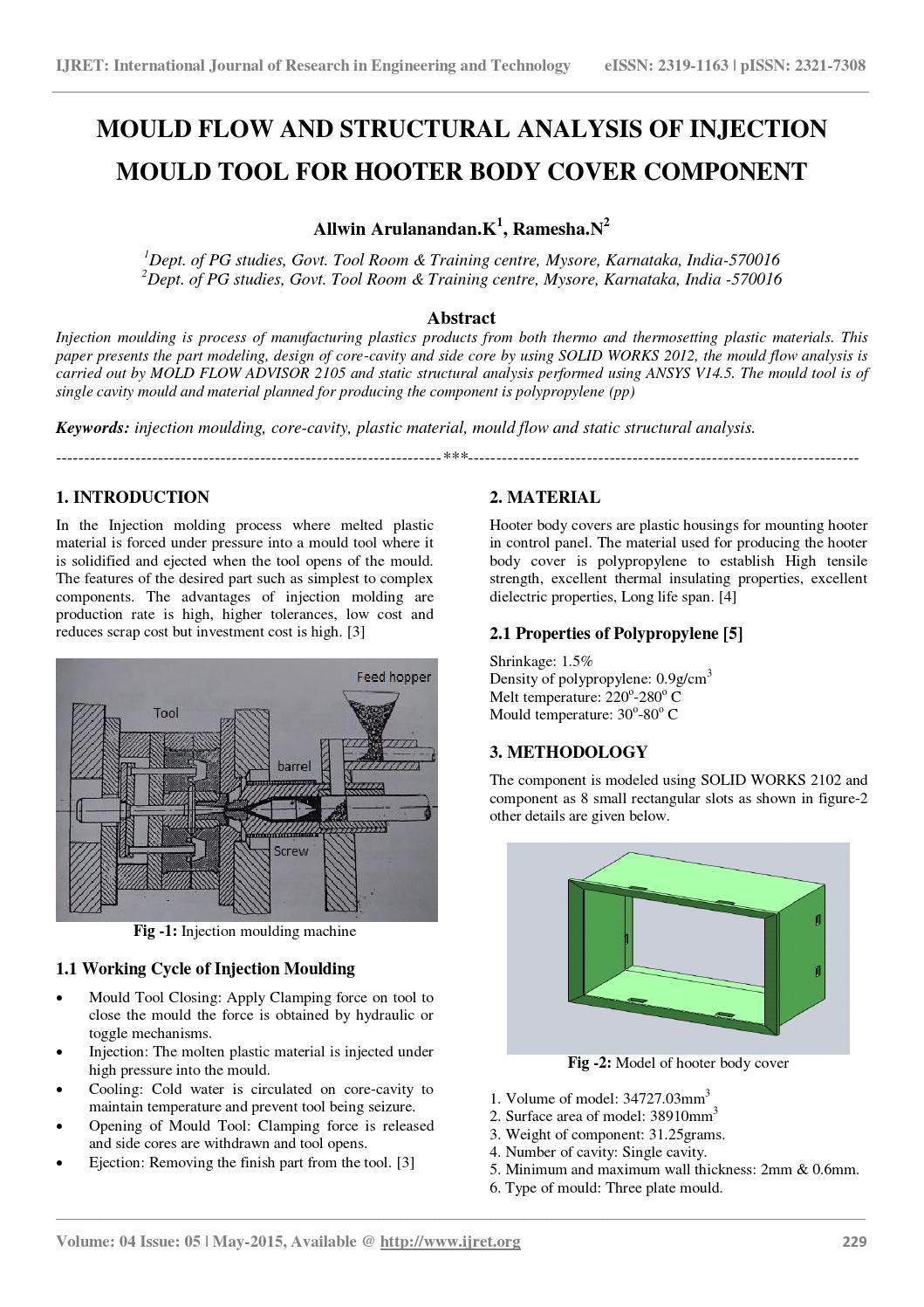 Mould flow and structural analysis of injection mould tool for