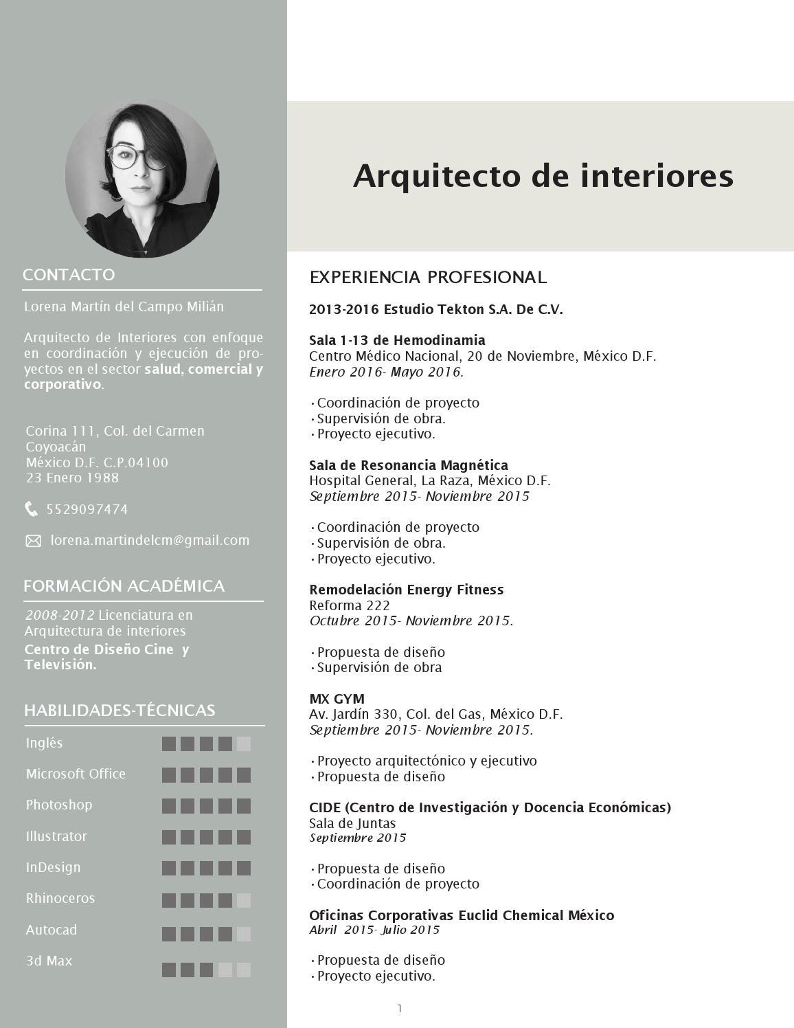 Curriculum lorena martin del campo by lorena martin del - Arquitectos de interiores famosos ...