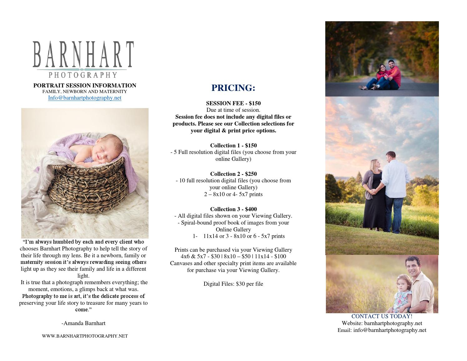 Barnhart Photography - Portrait Session information 2016 by