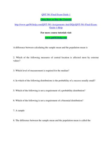 Qnt 561 final exam guide 1 by alpanlebk - issuu
