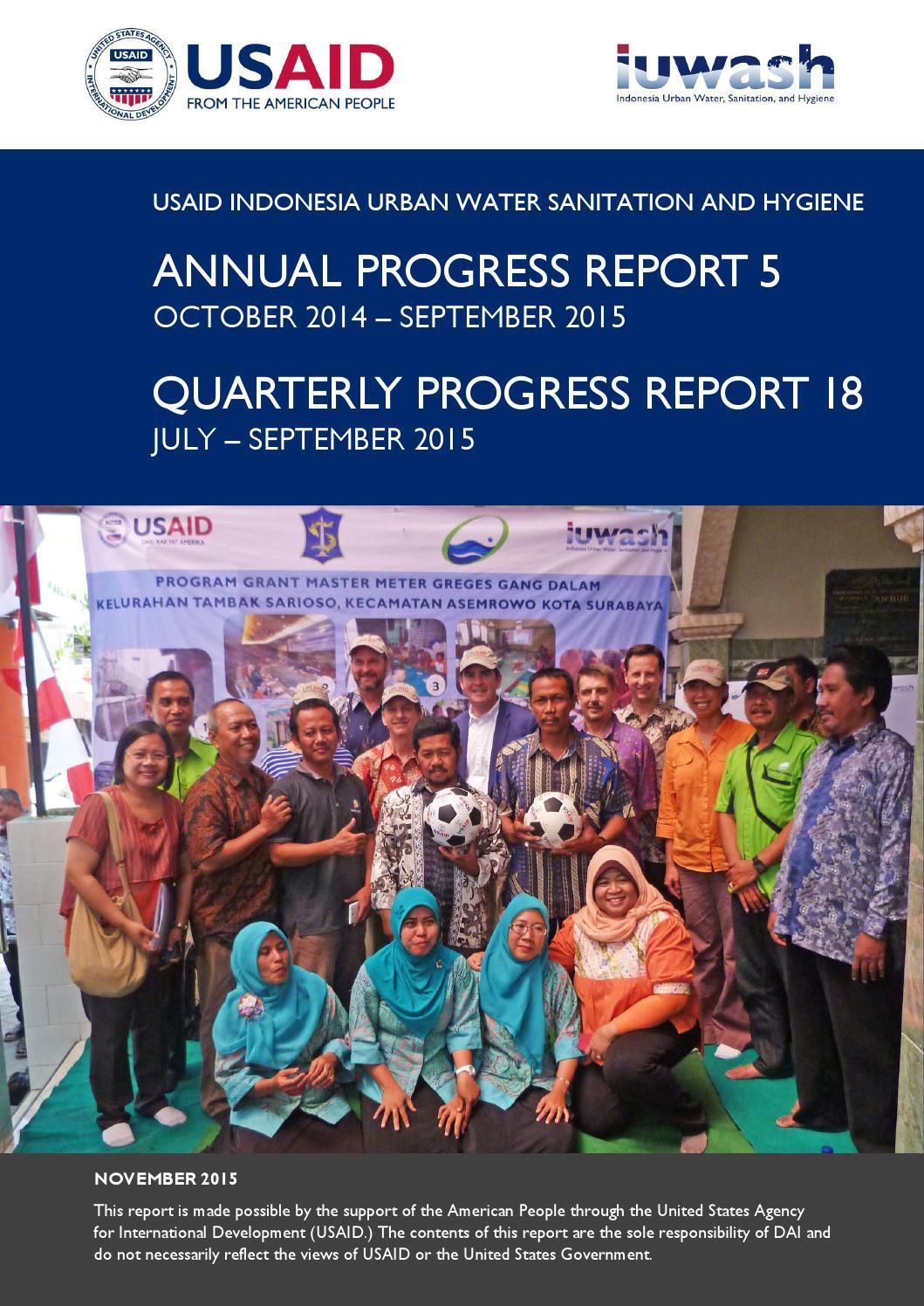 usaid iuwash annual progress report 5  oct 2014