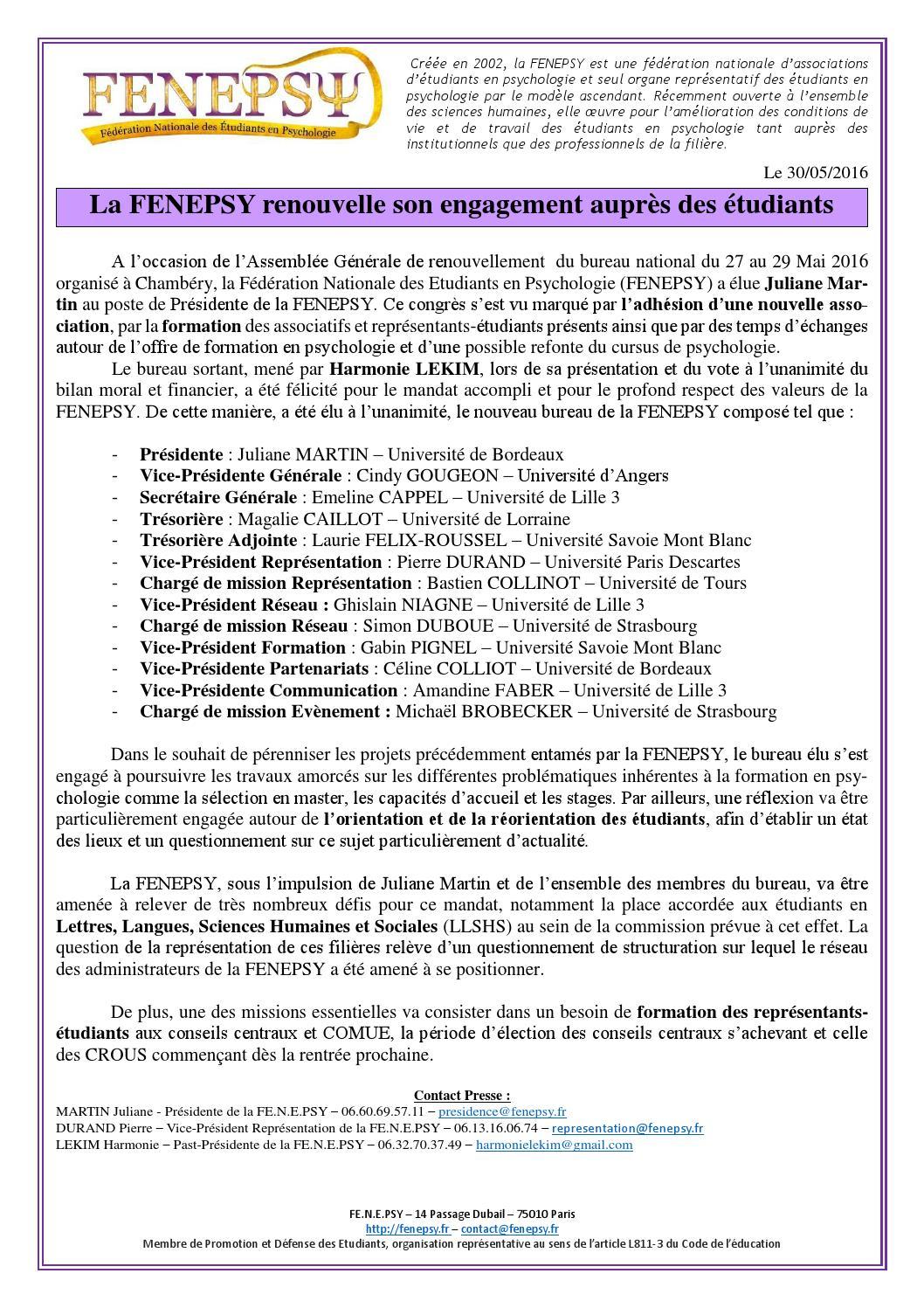 Cdp renouvellement fenepsy mai 2016 by fe n e psy f d ration nationale des etudiants en - Bureau de poste chambery ...