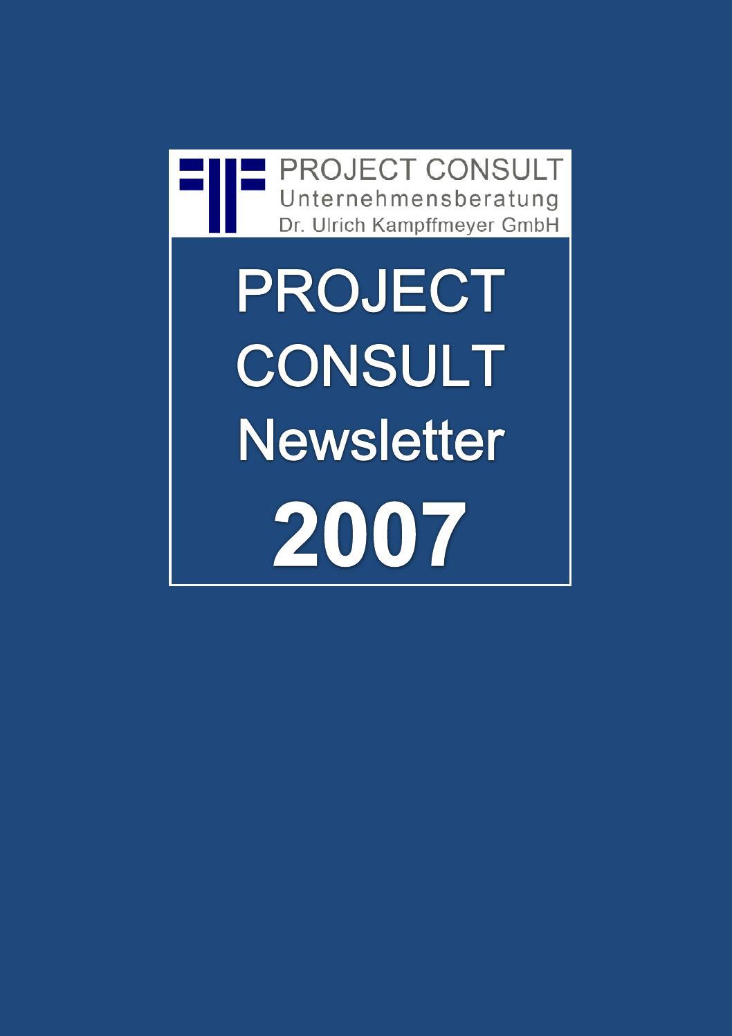 de project consult newsletter 2007 dr ulrich kampffmeyer hamburg kompletter jahrgang. Black Bedroom Furniture Sets. Home Design Ideas