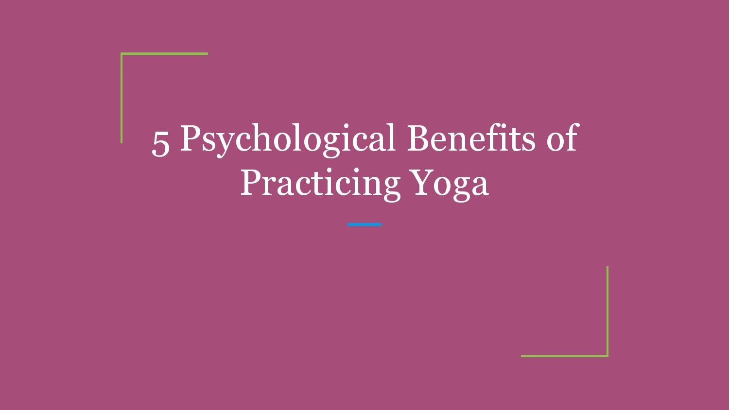psychological benefits of yoga