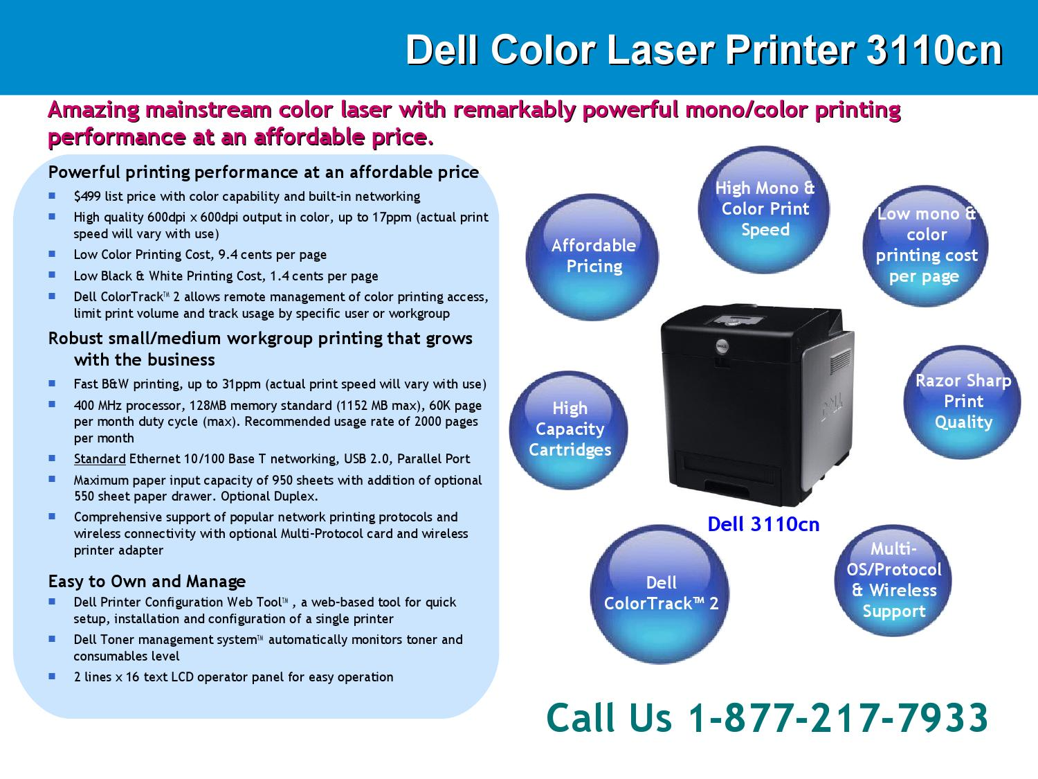 Dell color laser printer 3110cn support phone number for Fedex kinkos color printing cost per page