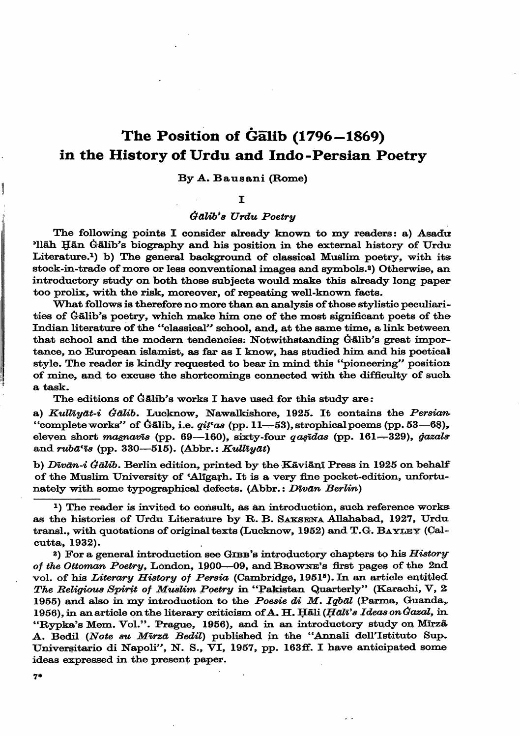 The Position of Gälib (1796-1869) in the History of Urdu and