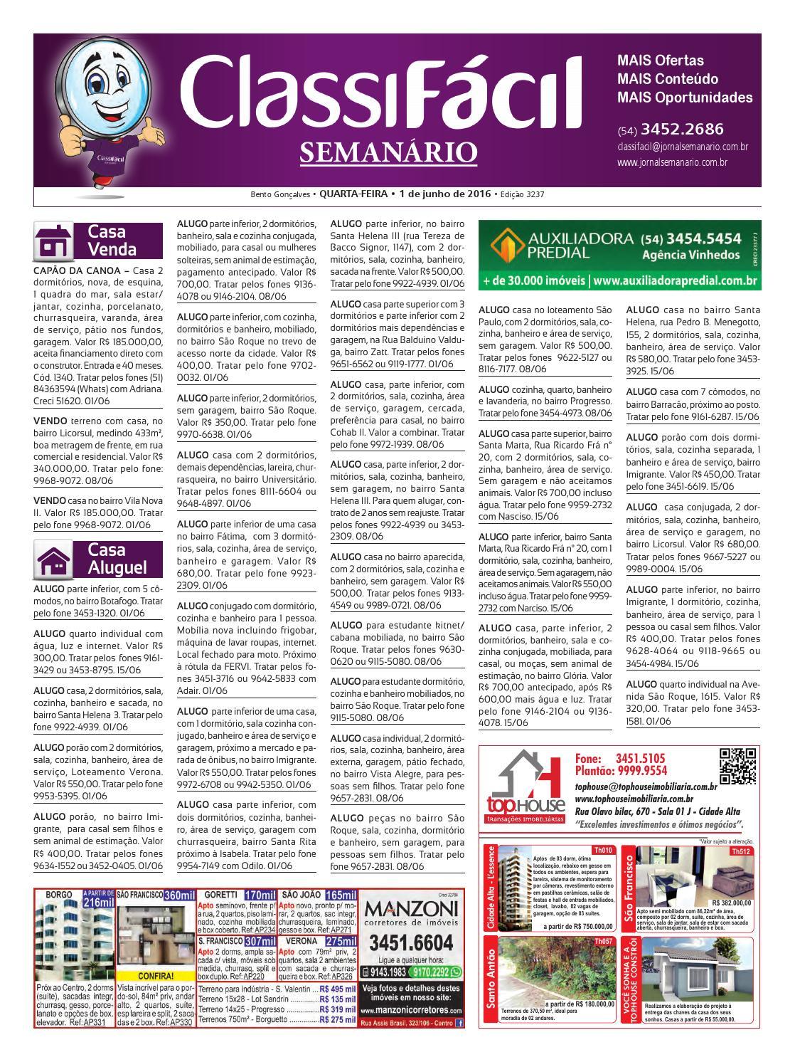 68f96612e9261 01 06 2016 - Classificados - Edição 3.237 by Jornal Semanário - Bento  Gonçalves - RS - issuu