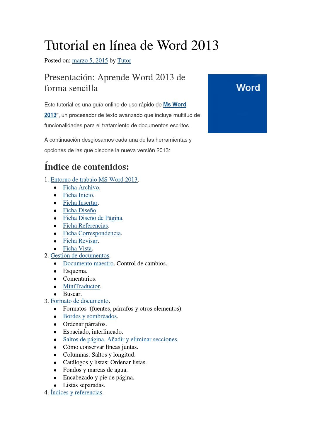 Tutorial word 2013 by ALFREDO QUISPE CHATE - issuu
