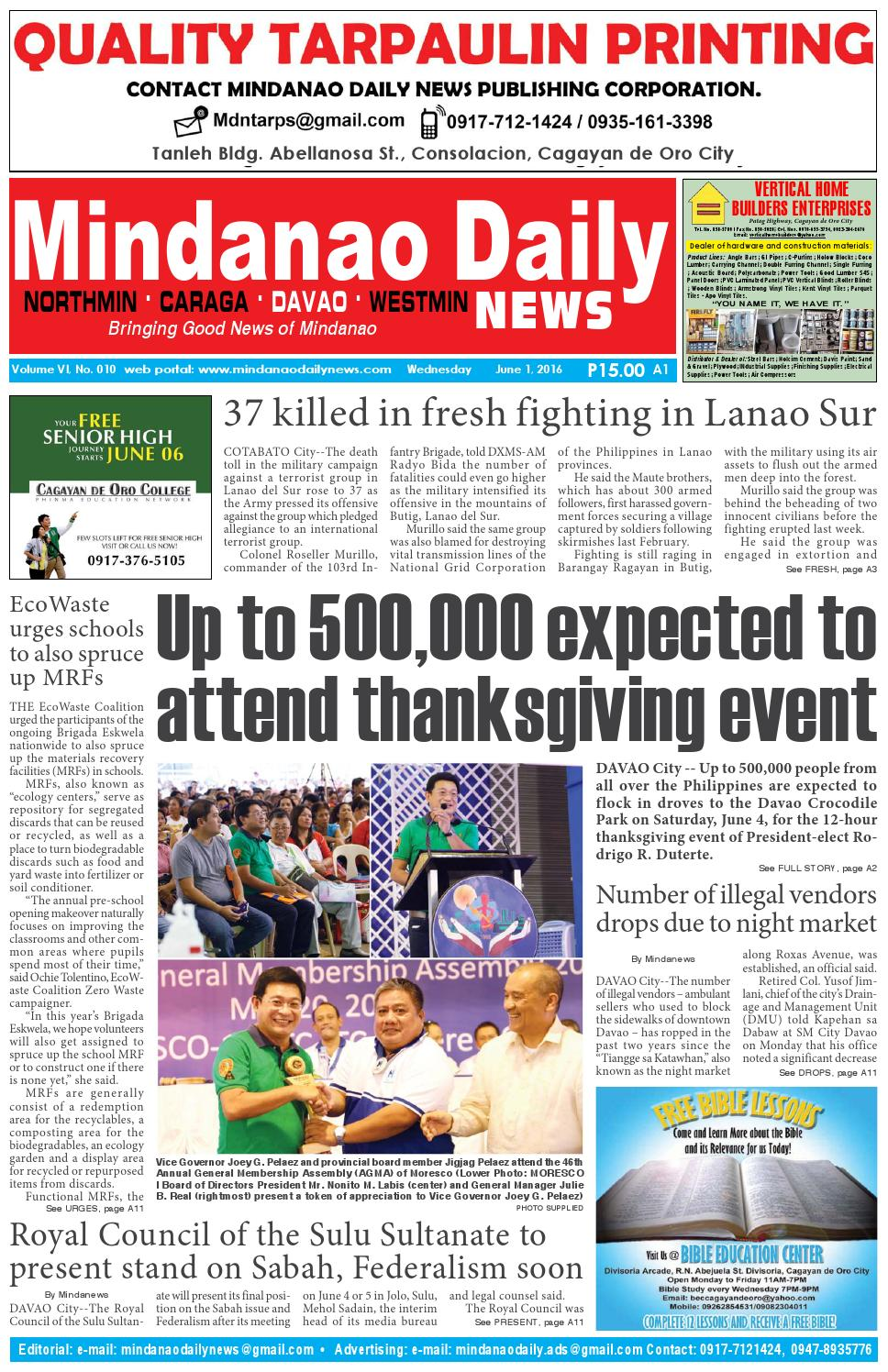 Mindanao Daily Davao (June 1, 2016) by Mindanao Daily News