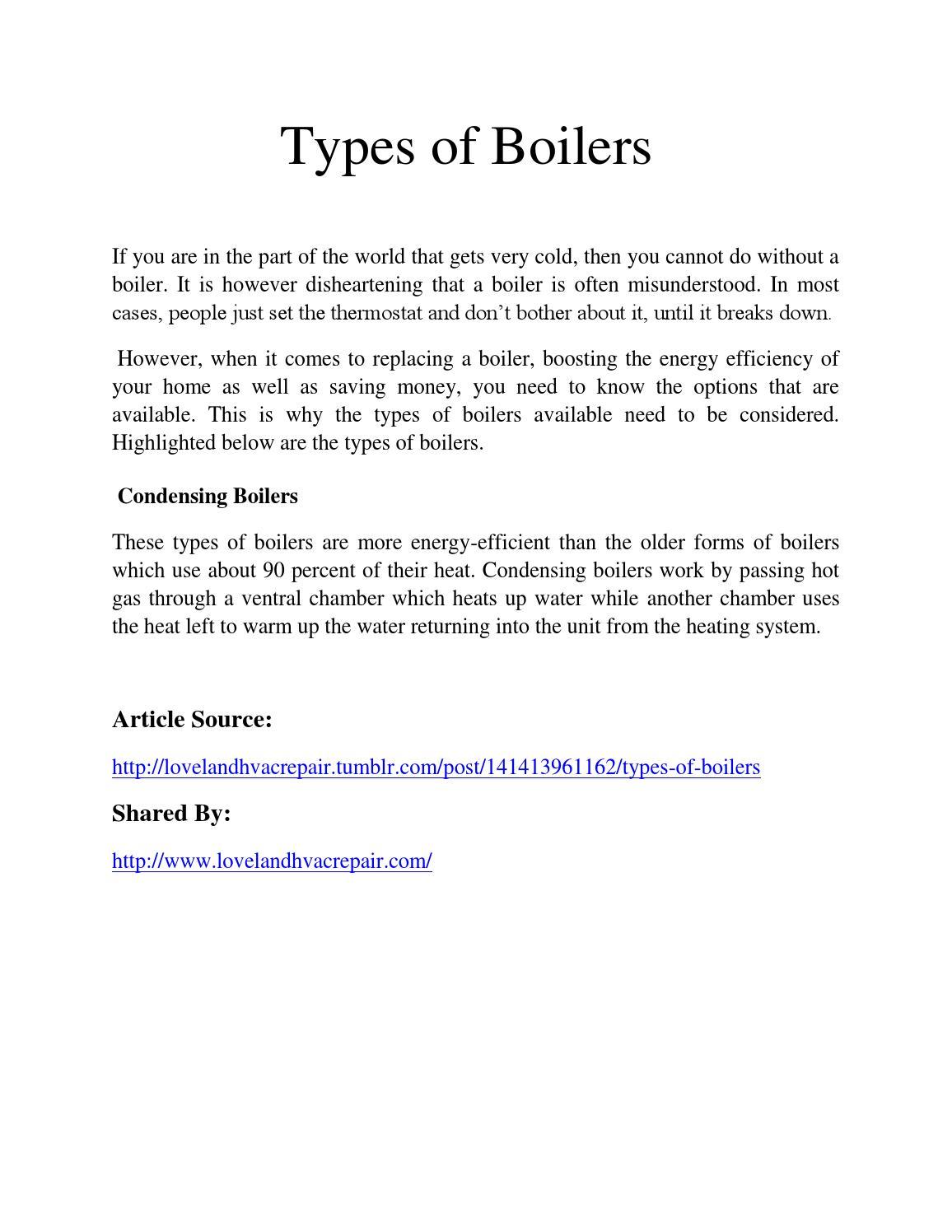 Types of boilers by Loveland HVAC Repair - issuu
