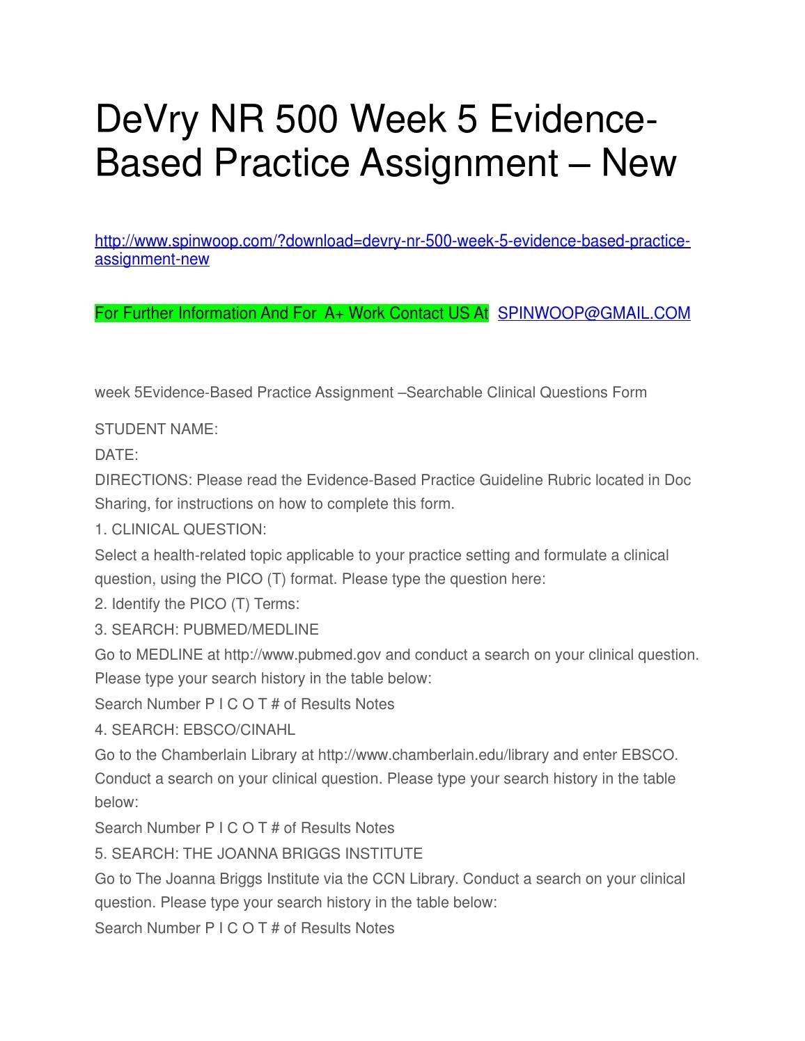 NR 439 Evidence-Based Practice: Chamberlain (Spring 2018)