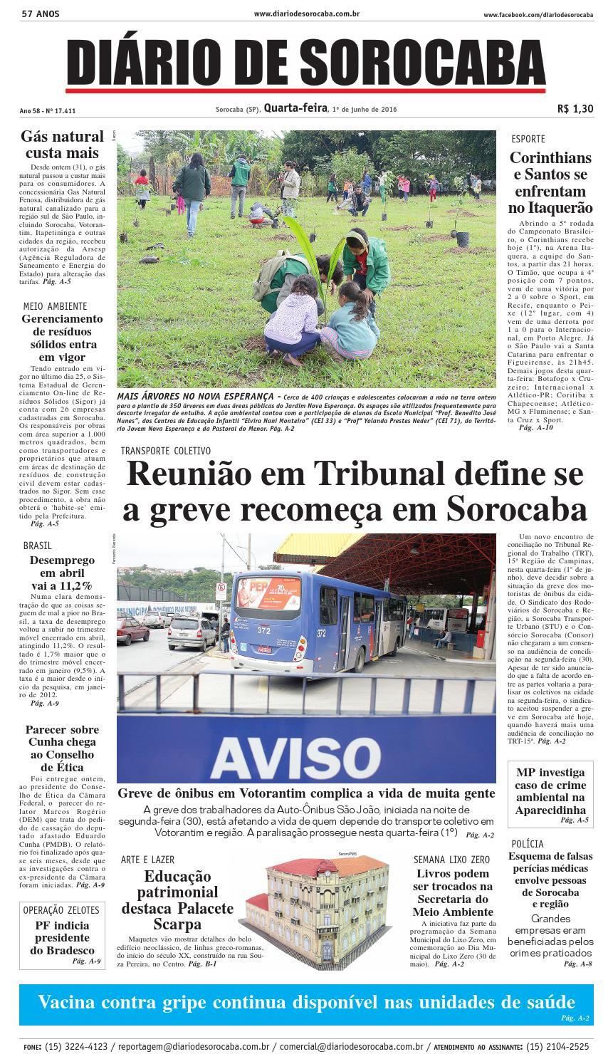 Edição de 1° de junho de 2016 by DIÁRIO DE SOROCABA - issuu 2e2ab6968258d