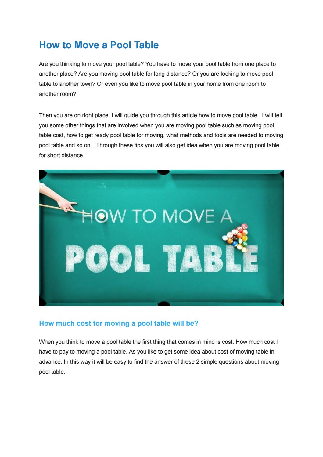 How To Move A Pool Table By Emmavictoria Issuu - What does it cost to move a pool table