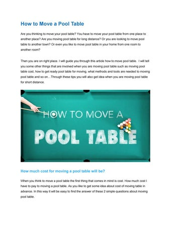 How To Move A Pool Table By Emmavictoria Issuu - Average cost to move pool table