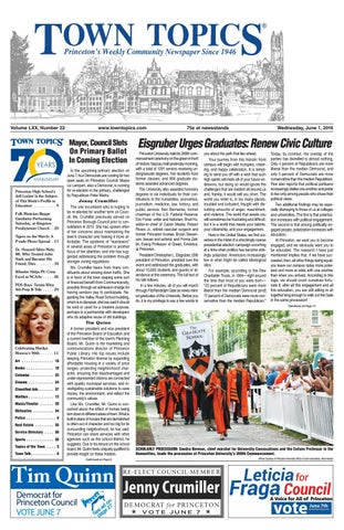 Town Topics Newspaper June 1, 2016 by Witherspoon Media